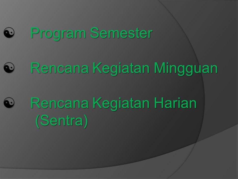 [ Program Semester [ Rencana Kegiatan Mingguan [ Rencana Kegiatan Harian (Sentra)